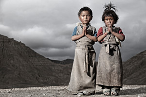Nepali children in the Kingdom of Mustang, Nepal.